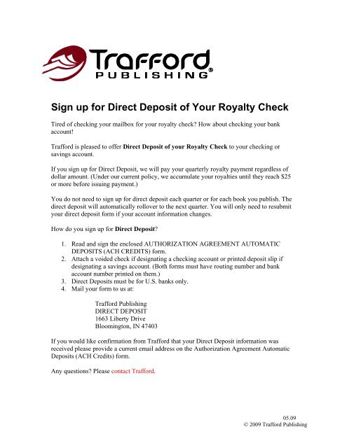 direct deposit form us bank  Sign up for Direct Deposit of Your Royalty Check - Trafford ...