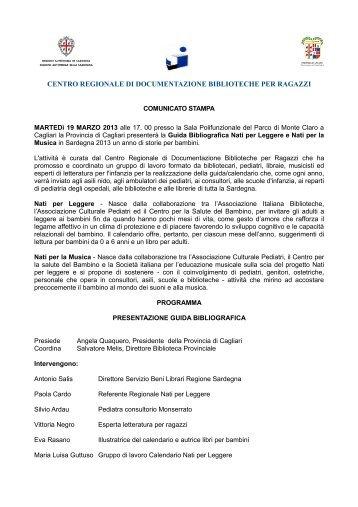 Comunicato stampa e programma [file .pdf] - Biblioteca Provinciale ...