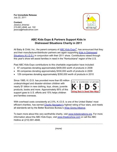 ABC Kids Expo & Partners Support Kids In Distressed Situations