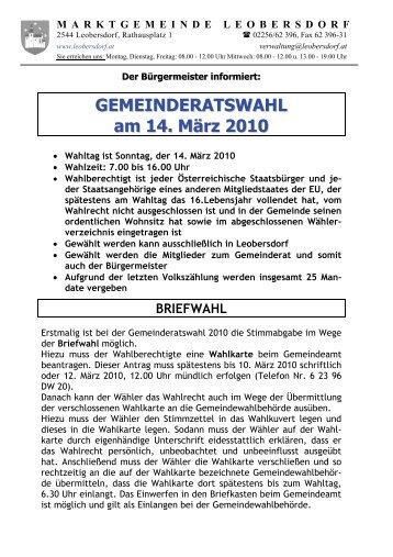 Wahlinformation zur Gemeinderatswahl 2010 - Leobersdorf