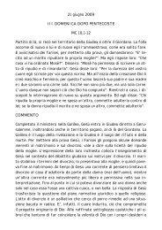 21 giugno 2009 III DOMENICA DOPO PENTECOSTE MC 10,1-12 ...
