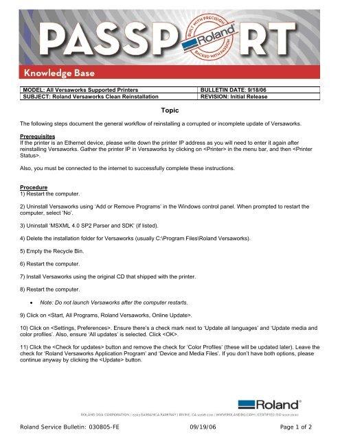 VersaWorks Reinstallation Procedure - Support