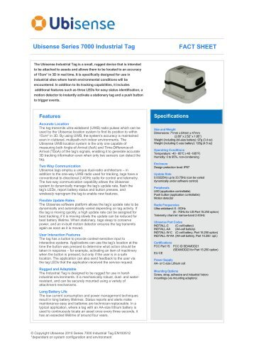 Ubisense Series 7000 Industrial Tag FACT SHEET