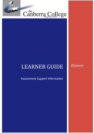 History Assessment Report Learner Guide - The Canberra College