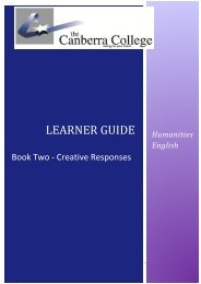 English Creative Response Booklet - The Canberra College