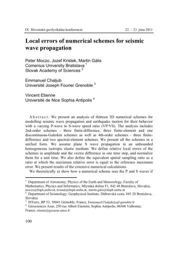 Local errors of numerical schemes for seismic wave propagation