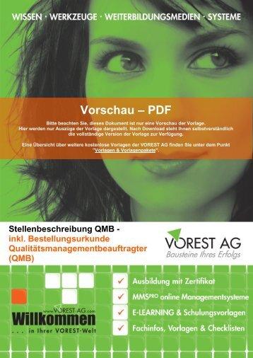 Stellenbeschreibung QMB - Vorest AG