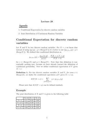 Conditional Expectation for discrete random variables