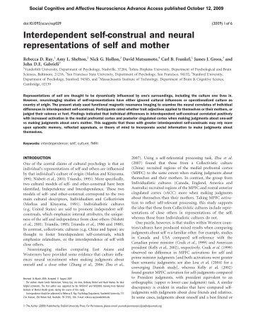 Interdependent self-construal and neural ... - David Matsumoto