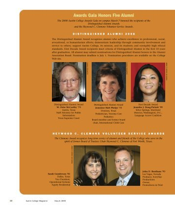 Awards Gala Honors Five Alumni - Austin College Magazine