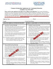 Common Scholarship Application for Continuing ... - ThedaCare