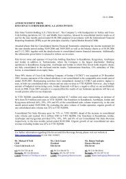 10.11.2006 ANNOUNCEMENT FROM EFES ... - Coca Cola İçecek