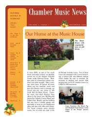 Chamber Music News - Caltech Performing and Visual Arts
