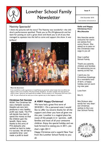 13th December 2010 Newsletter - Lowther Primary School