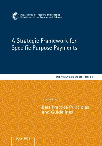 A Strategic Framework for Specific Purpose Payments