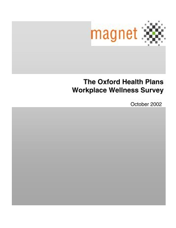 The Oxford Health Plans Workplace Wellness Survey