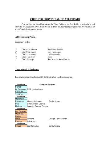 CIRCUITO PROVINCIAL DE ATLETISMO Atletismo en Pista ...