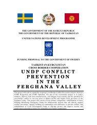 kyrgyzstan and tajikistan in conflict prevention - UNDP in Tajikistan