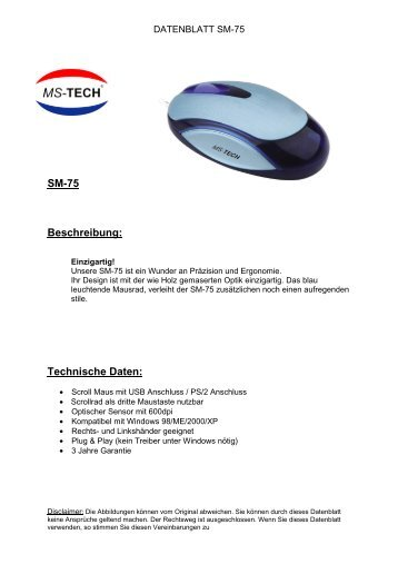 SM-75 Beschreibung: Technische Daten: - MS-Tech