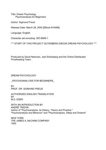 Dream Psychology, Freud - Catalyst Breakthru