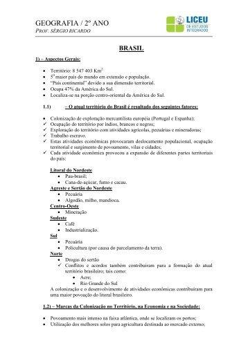 Apostila de Geografia - Brasil - 2º Ano E.M - liceu.net