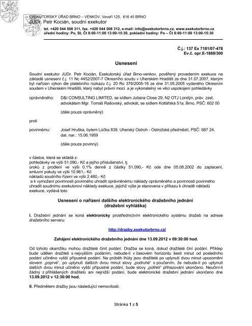 JUDr. Petr Kocián, soudní exekutor Usnesení