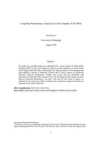 Long-Run Performance Analysis of a New Sample of ... - CiteSeerX