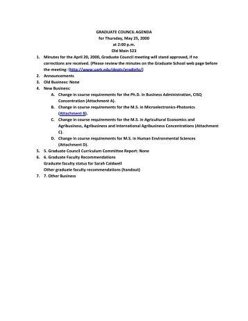 GRADUATE COUNCIL AGENDA for Thursday, May 25, 2000 at 2:00 ...