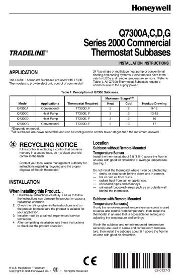 68 0163 t7100d e f microelectronic commercial honeywell tech sheet for honeywell q7300 commercial thermostat subbases