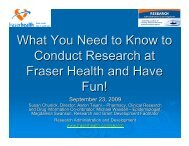 What You Need to Know to Conduct Research at Fraser Health and ...