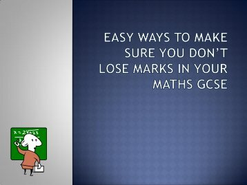 Easy ways not to lose Marks 1