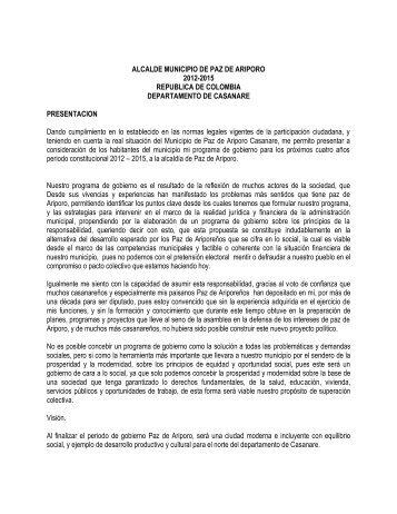 ALCALDE MUNICIPIO DE PAZ DE ARIPORO 2012-2015 ...