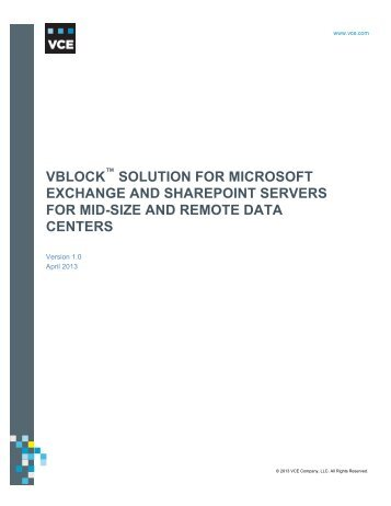Vblock Solution for Microsoft Exchange and SharePoint Servers - VCE