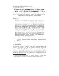 corporate governance in romania - Facultatea de Contabilitate şi ...