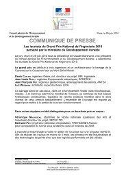 Le dossier de presse relatif aux résultats - cgedd - Ministère du ...