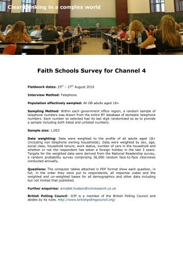 PDF: Faith Schools Survey for Channel 4 - ICM Research