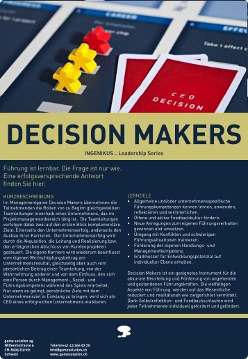 decision makers - game solution ag