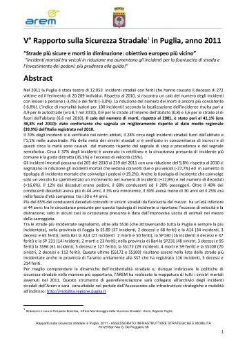 Puglia, Rapporto sulla Sicurezza Stradale 2011 - Spazio Sociale