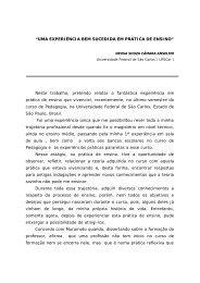 """""""UMA EXPERIÊNCIA BEM SUCEDIDA EM PRÁTICA DE ENSINO ..."""