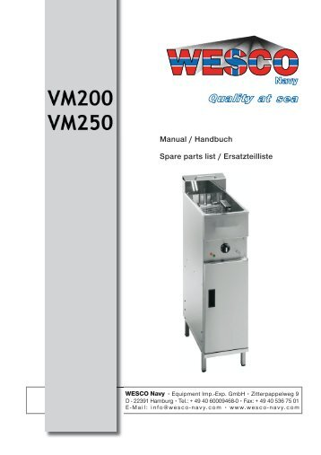 Fat Fryer VM200 VM250 - WESCO-Navy