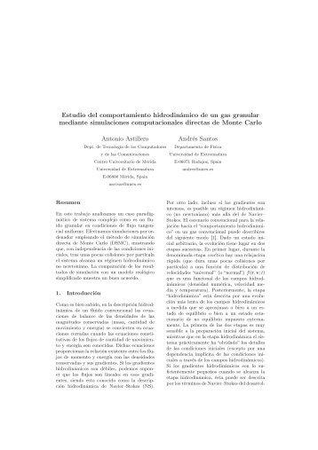 Estudio del comportamiento hidrodinámico de un gas granular ...