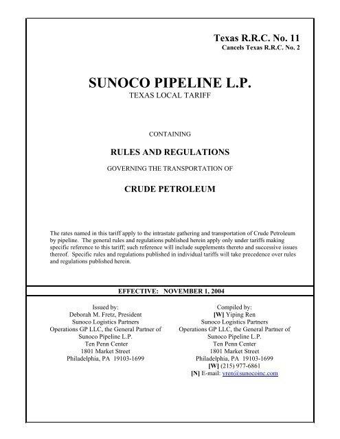 TX RRC 11 - Sunoco Logistics