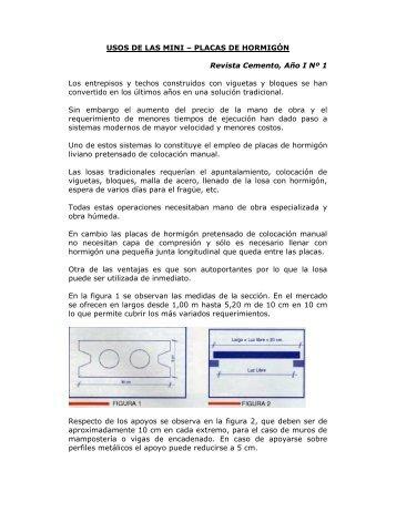 PLACAS DE HORMIGÓN Revista Cemento, Año I Nº 1 Los ... - ICPA