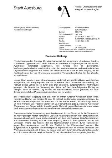 Pressemitteilung - VVN-BdA Augsburg