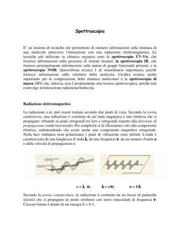 Spettroscopia - Dipartimento di Chimica