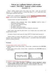 Pokyny pre vypĺňanie žiadostí o ubytovanie v akad. r. 2013/2014