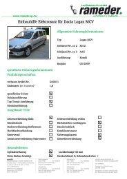 Einbauhilfe Elektrosatz für Dacia Logan MCV - Rameder