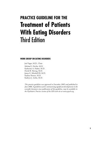 Practice Guideline for the Treatment of Patients With Eating Disorders