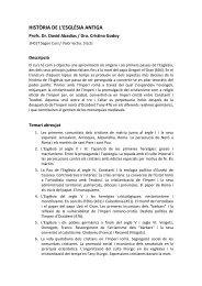 Programa Hª Església Antiga - Facultat de Teologia de Catalunya