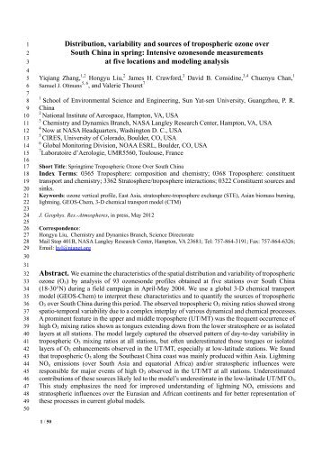 Distribution, variability and sources of tropospheric ozone over ...